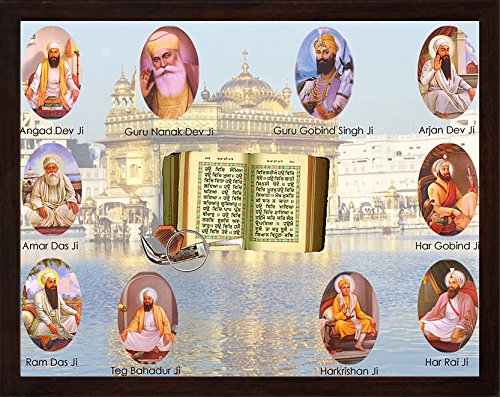 Sikh Religious ten Gurus with Guru Granth Sahib, kanga and kirpan, A Holy Sikh Religious poster painting with frame, A Sikh Religious painting poster with frame, must for Sikh family home / office by HandicraftStore
