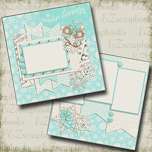 SNOW BUNNIES - Premade Scrapbook Pages - EZ Layout 355 (Page Snow Scrapbook)