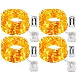 Image of GDEALER 4 Pack Fairy Lights Fairy String Lights Battery Operated Waterproof 8 Modes 50 LED 16.4ft String Lights Copper Wire Firefly Lights Remote Control for DIY Wedding  Party Dinner (Warm White)