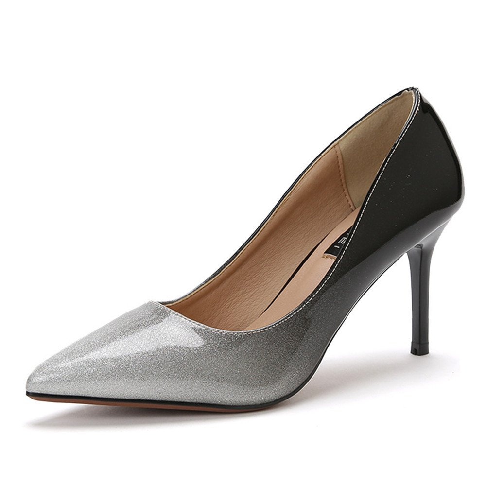 Shoemaker'S Heart Single Pointed Shoes Heels Pop Sequins Heels Heels Shoes Heels Single Shoes Spring New Fashions Thirty-eight|silvery B073S73V9S 8891f3