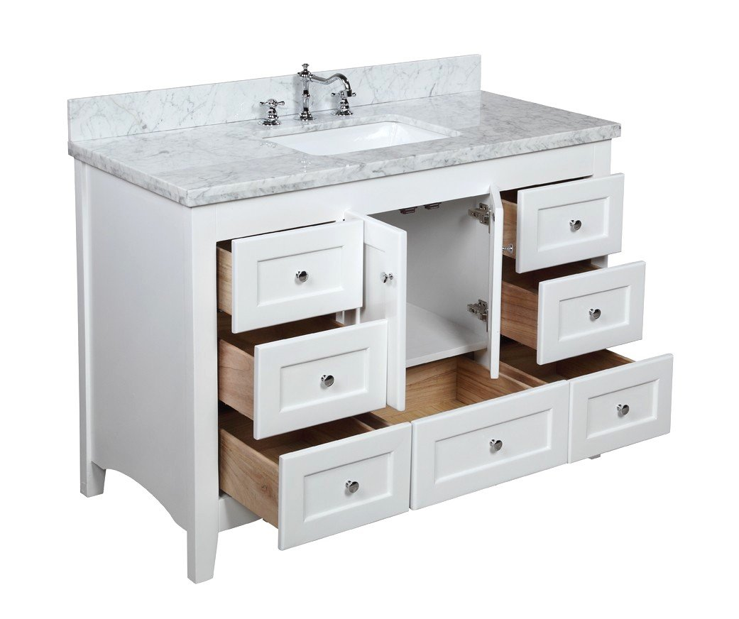 Kitchen Bath Collection KBC388WTCARR Abbey Bathroom Vanity With Marble  Countertop, Cabinet With Soft Close Function And Undermount Ceramic Sink,  ...