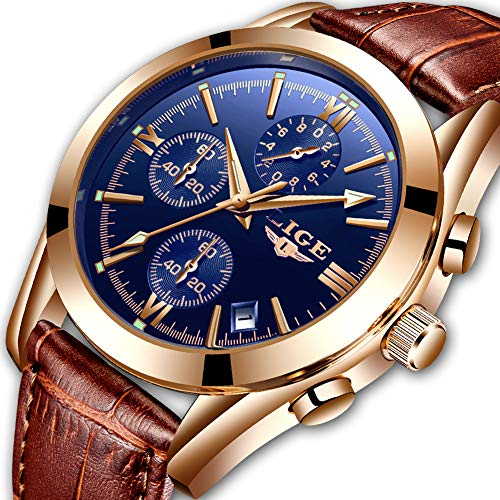 (Watch for Man,LIGE Men's Watches Fashion with Date Business Dress Analog Quartz Wristwatch Waterproof Chronograph Luminous Brown Leather Watch Man)