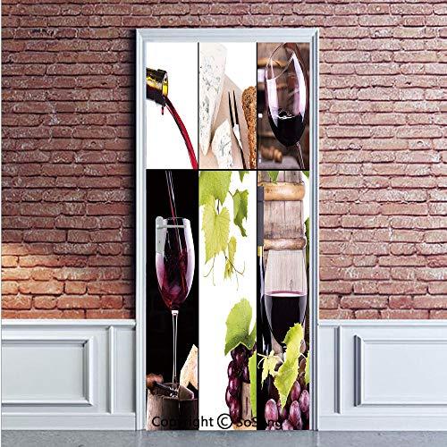 Wine Door Wall Mural Wallpaper Stickers,Wine Collage with Barrel Bottle Wineglass Grape Gourmet Taste Beverage Decorative,Vinyl Removable 3D Decals 35.4x78.7/2 Pieces set,for Home Decor Burgundy Light
