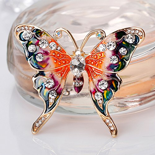 Finance Plan Women Retro Butterfly Multicolor Enamel Shiny Rhinestone Brooch Pin Jewelry Gift by Finance Plan (Image #7)