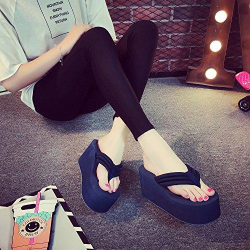ciabatte da deep donna Cool spiaggia scarpe con fondo blue alti pantofole spesso antiscivolo sandali tacchi 8cm myldy vqOwdZzv