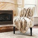 "Best Home Fashion Faux Fur Throw - Lap Blanket - Champagne Fox - 58""W x 36""L - (1 Throw)"