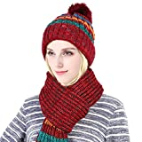 Vbiger Winter Knitted Hat and Scarf Set 2 Pieces Warm Winter Knitted Set Thick Knit Hat and Warm Scarf for Women, Decorative Pompong