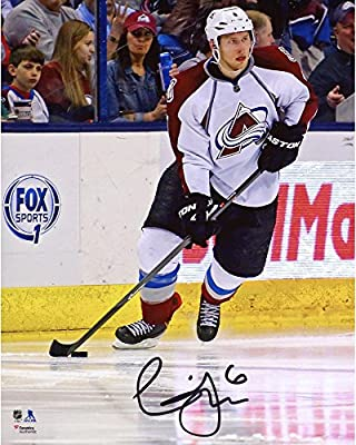 "Erik Johnson Colorado Avalanche Autographed 8"" x 10"" White Jersey With Puck Photograph - Fanatics Authentic Certified"