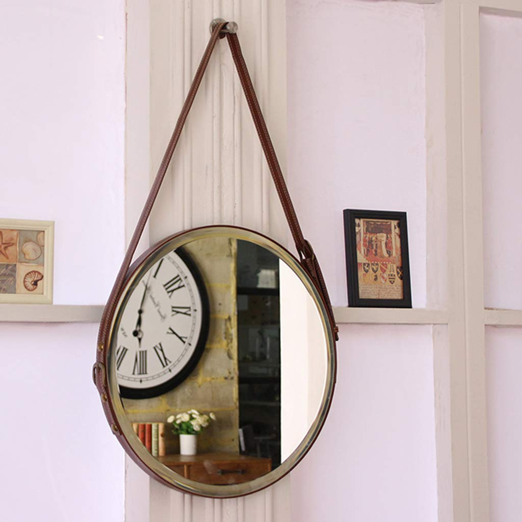 Round Hanging Mirror, 50/60cm Diameter Living Decoration Vanity Mirror Shaving Mirror Bathroom with Chain Wall Mirror - Brown by GYX-Bathroom Mirror (Image #5)