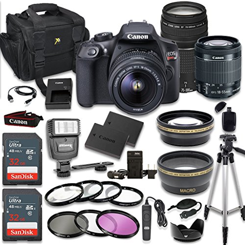 Canon EOS Rebel T6 DSLR Camera Bundle with Canon EF-S 18-55mm f/3.5-5.6 IS II Lens + Canon EF 75-300mm f/4-5.6 III Lens + 2pc SanDisk 32GB Memory Cards + Accessory Kit (CERTIFIED REFURBISHED) from Canon
