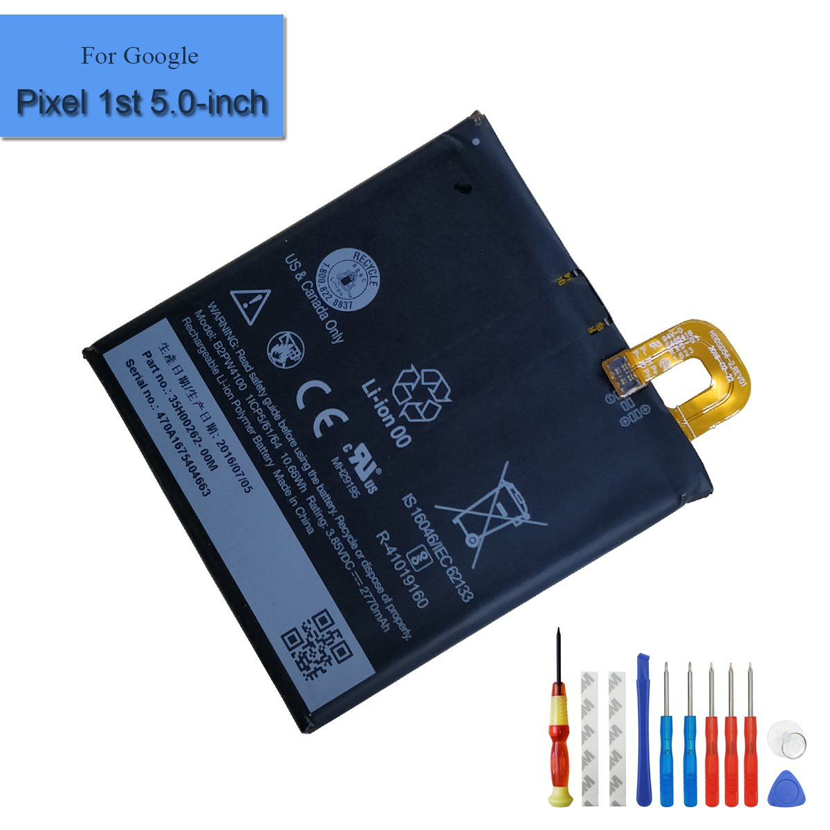 For Google Pixel 1st 5.0-Inch New Replacement Battery 2770mAh 3.85V Built-in Battery B2PW4100 35H00262-00M + Tools