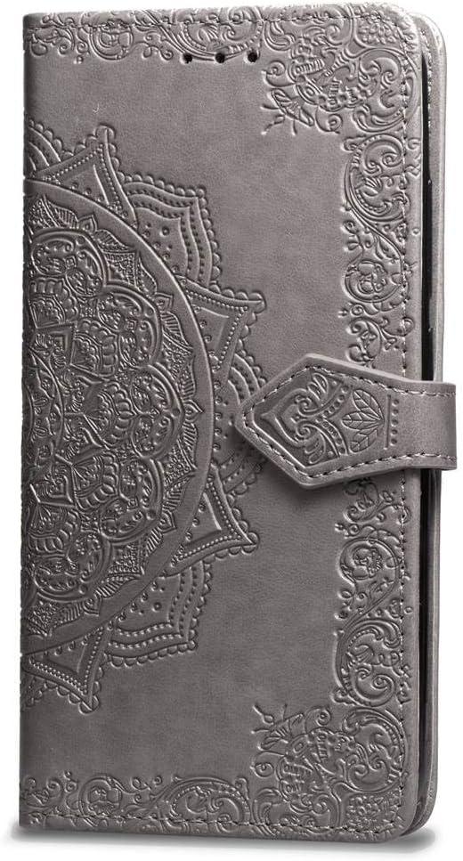 Oihxse Funda con Xiaomi Redmi 5A, Cuero PU Billetera Cierre Magnético Flip Libro Folio Tapa Carcasa Relieve Soporte Plegable Ranuras para Tarjetas Protección Caso(Gris)