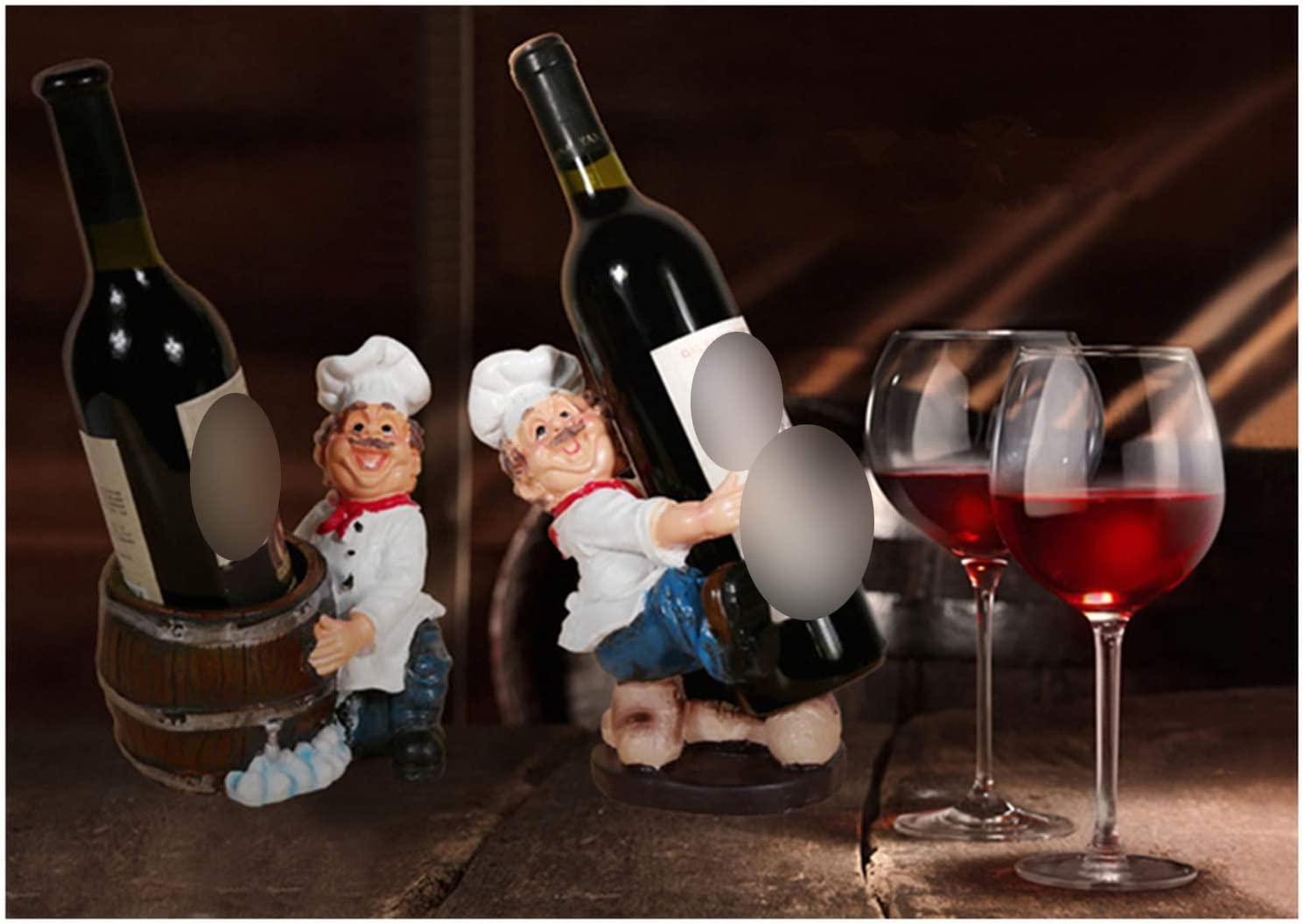 Brilliant-Store French Chef Brother Figurines Chef Miniatures Resin Wine Rocks Wine Holder Home Decor Office Decoration New Year Gift,2,7x4.9x7.8 Inch