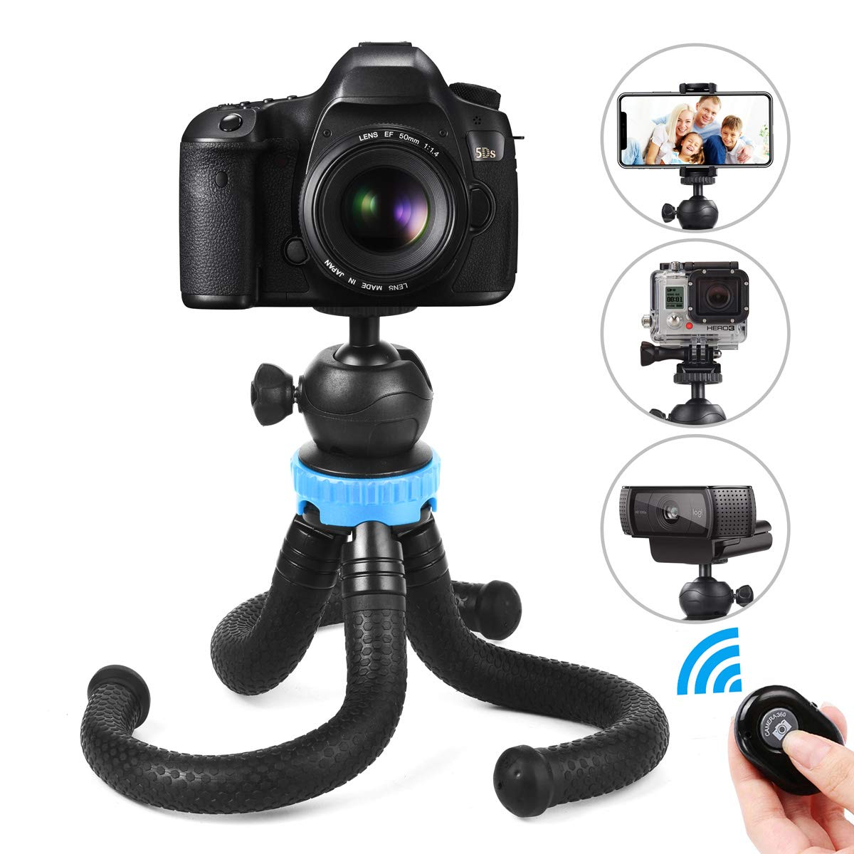 Phone Tripod, Foaber Flexible Portable Travel Octopus Tripods with Bluetooth Wireless Remote Shutter, Compatible with iPhone X 8 Plus, Samsung, GoPro, Camera and All Mobile Cell Phone
