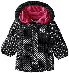 Pink Platinum Baby Girls\' Foil Dot Puffer, Black, 12 Months