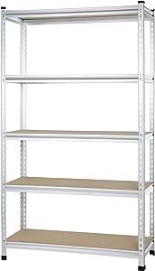 AmazonBasics Medium Duty Shelving Double Post Press Board Shelf, 48 x 18 x 72, Aluminum