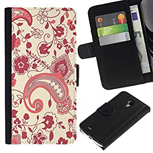 KingStore / Leather Etui en cuir / Samsung Galaxy S4 Mini i9190 / Dise?o floral ri?ón Art Wallpaper Púrpura Rojo