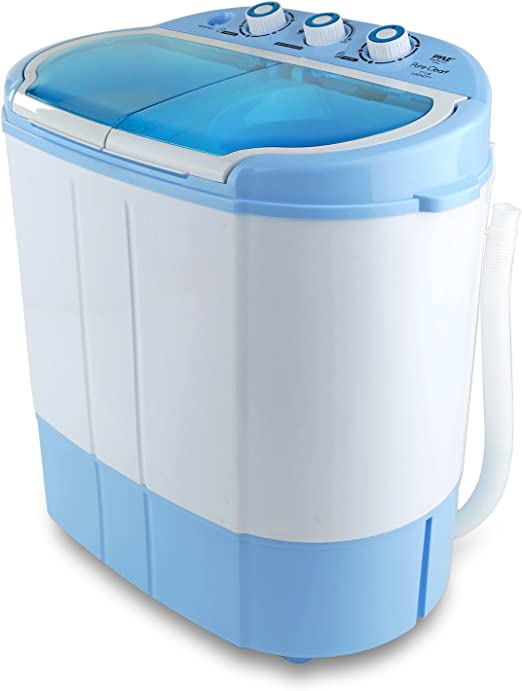 Mini Washing Machine Ideal for Compact Laundry 110V Twin Tubs 11lbs Pyle Portable Washer /& Spin Dryer Spin Cycle w// Hose Capacity
