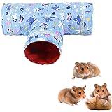 【Momugs Akira】小動物おもちゃ ハムスタートンネル T形 チューブベッド 小さなペットハウス 寝袋 隠れ家 ブルー