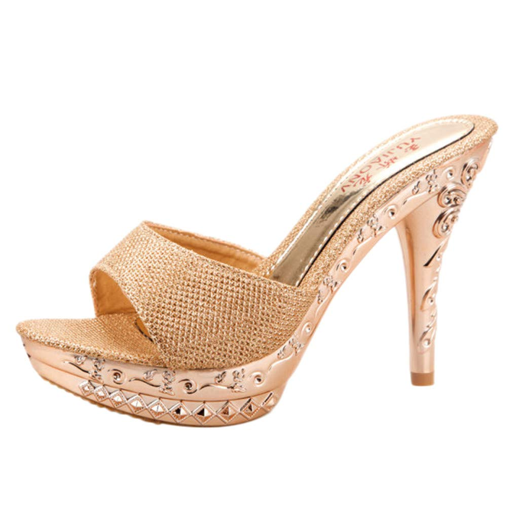 Women Sandals,Orangeskycn High Heel Shoes Fish Mouth Waterproof Platform Casual Single Shoes Wild Sandals Stiletto Slippers Gold