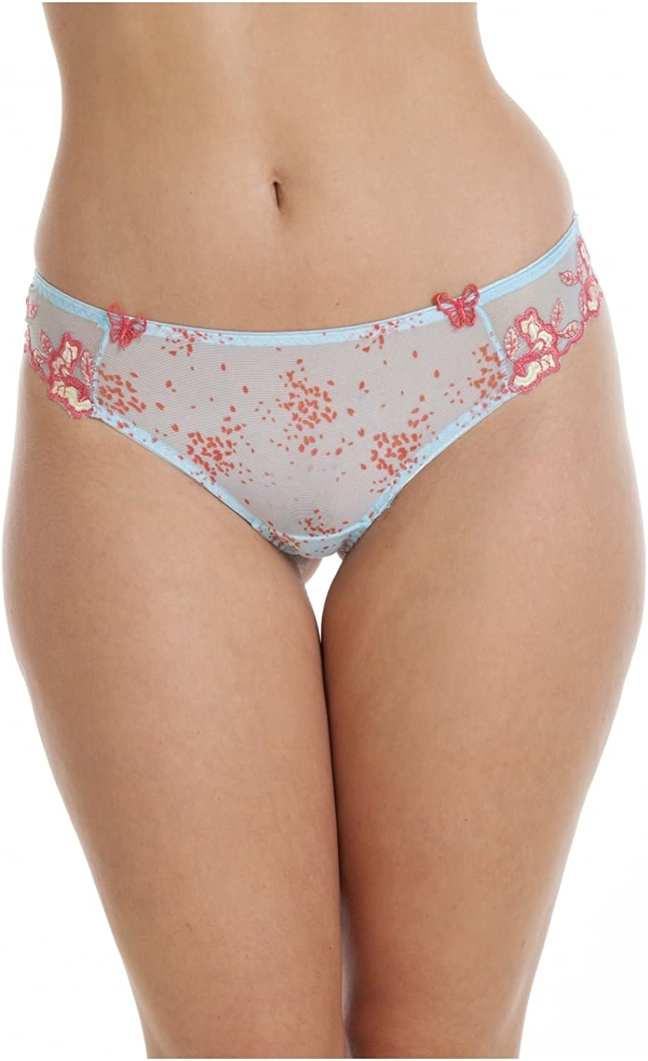 Camille Womens Ladies Sheer Mesh Laced Blue and Pink Underwear Thong Sizes 8-18