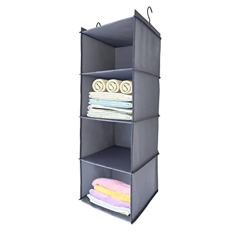68492f6af14c BabyCola 4-Shelf Hanging Closet Organizer, Hanging Clothes Storage  Box,Collapsible Closet Hanging Shelf,Sweater & Handbag Organizer, Shoes ...