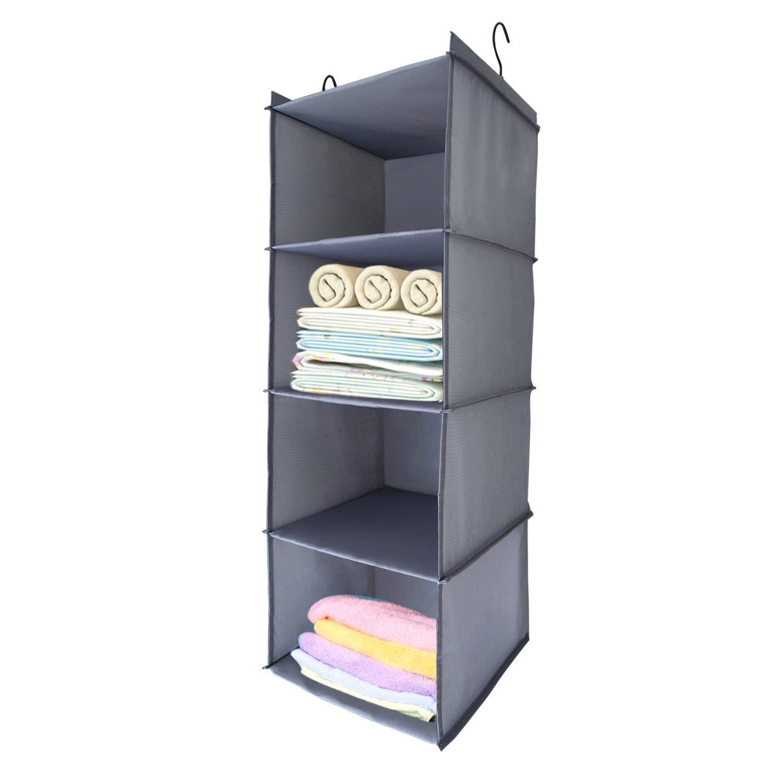 BabyCola 4-Shelf Hanging Closet Organizer, Hanging Clothes Storage Box,Collapsible Closet Hanging Shelf,Sweater & Handbag Organizer, Shoes Accessories Storage,Easy Mount(gray)