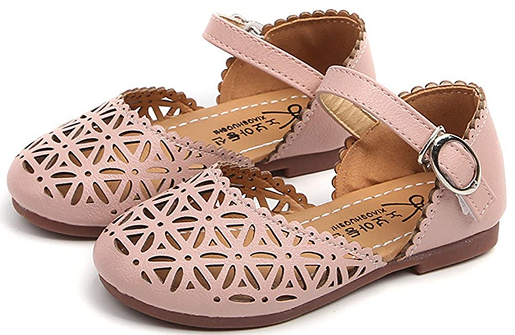 Toddler//Little Kid VECJUNIA Girls Stylish Cut Out Closed Toe Antiskid Durable Hook-and-Loop Flats Sandals