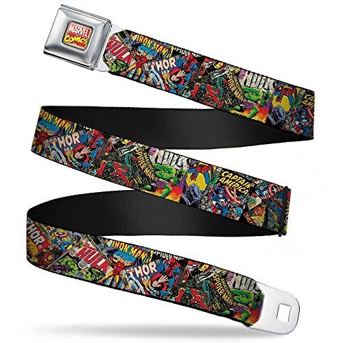 Buckle-Down Seatbelt Belt - Retro Marvel Comic Books Stacked C/U - 1.5