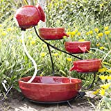 Best ChoiceProducts Ceramic Solar Water Fountain Garden Zen Free Standing Weather Proof, Red