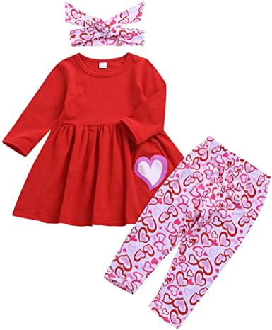 Toddler Baby Girl Valentines Day Outfit Long Sleeve Heart Print Tunic Dress Floral Pants Little Valentines Colothes