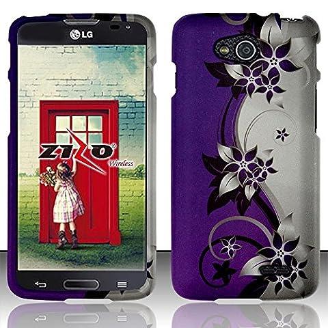 Bundle Accessory for Verizon HTC Droid DNA 6435 - Purple Flower Designer Hard Case Protector Cover + Lf Stylus Pen + Lf Screen (Cover Htc Droid Dna 6435)