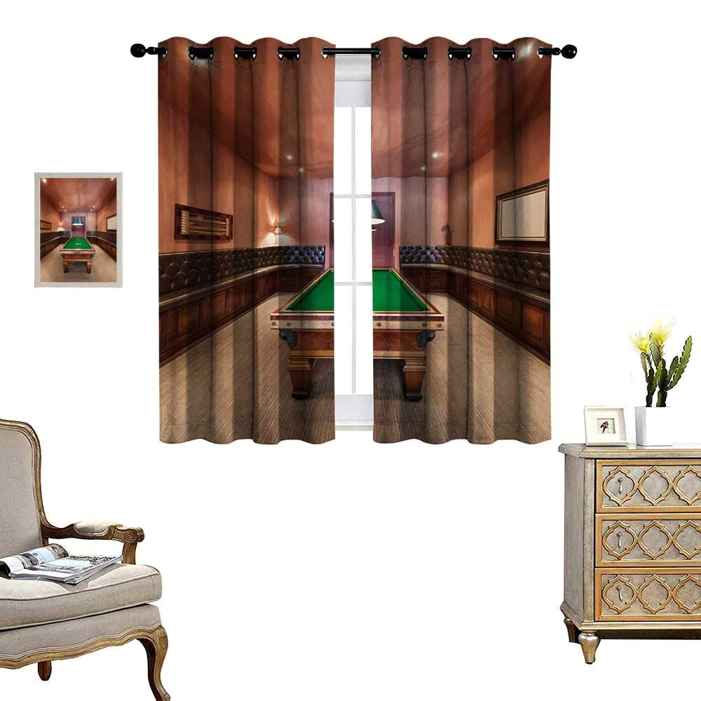 Modern Window Curtain Fabric Entertainment Room in Mansion Pool Table Billiard Lifestyle Photo Print Drapes for Living Room W55 x L63 Cinnamon Brown Green