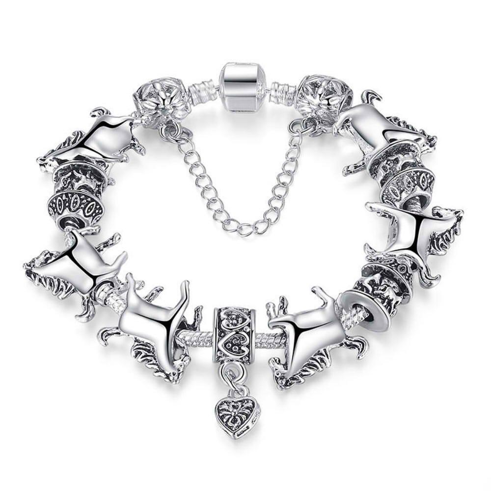wattana Women Silver Animal Bracelet Glass Beads Bracelets Horse Bangle Fashion j5l by Wat by wattana