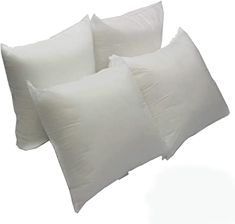 2 Pack 16 L x 16 W EVERMARKET Square Sham Stuffer Hypo-Allergenic Poly Pillow Form Insert Pure White