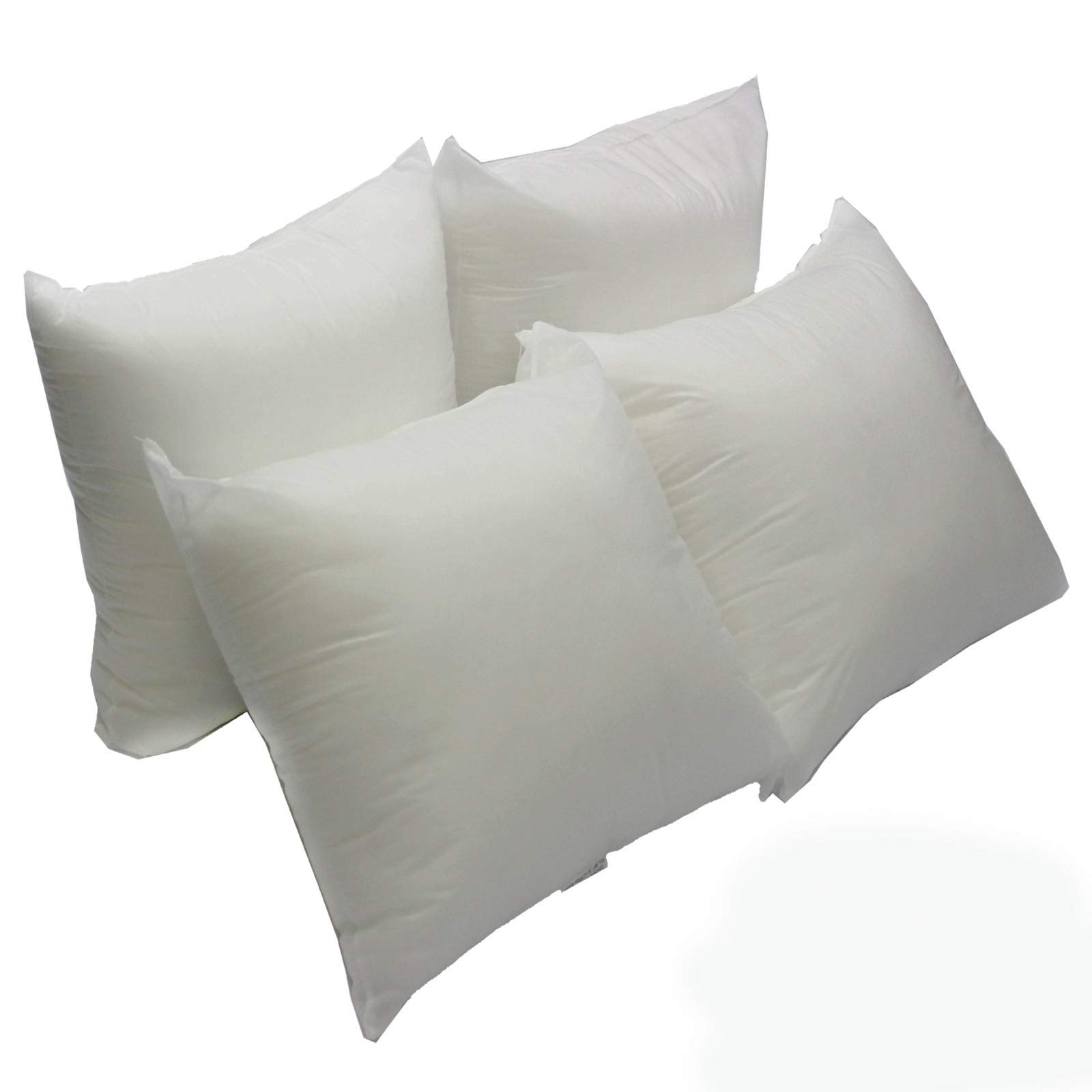 Mybecca 4 Pack Premium Hypoallergenic Stuffer Pillow Insert Sham Square Form Polyester, 16'' L X 16'' W, Standard/White by Mybecca