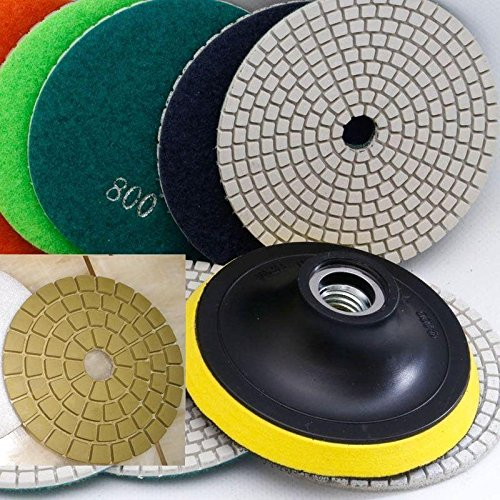4 Inch 100mm 4'' Diamond Polishing Pad 9 Pieces + Damo Glaze Buff (brings mirror like polished result to granite marble) + Pad Holder Backer Granite Glass Concrete Sander FREE Priority SHIP