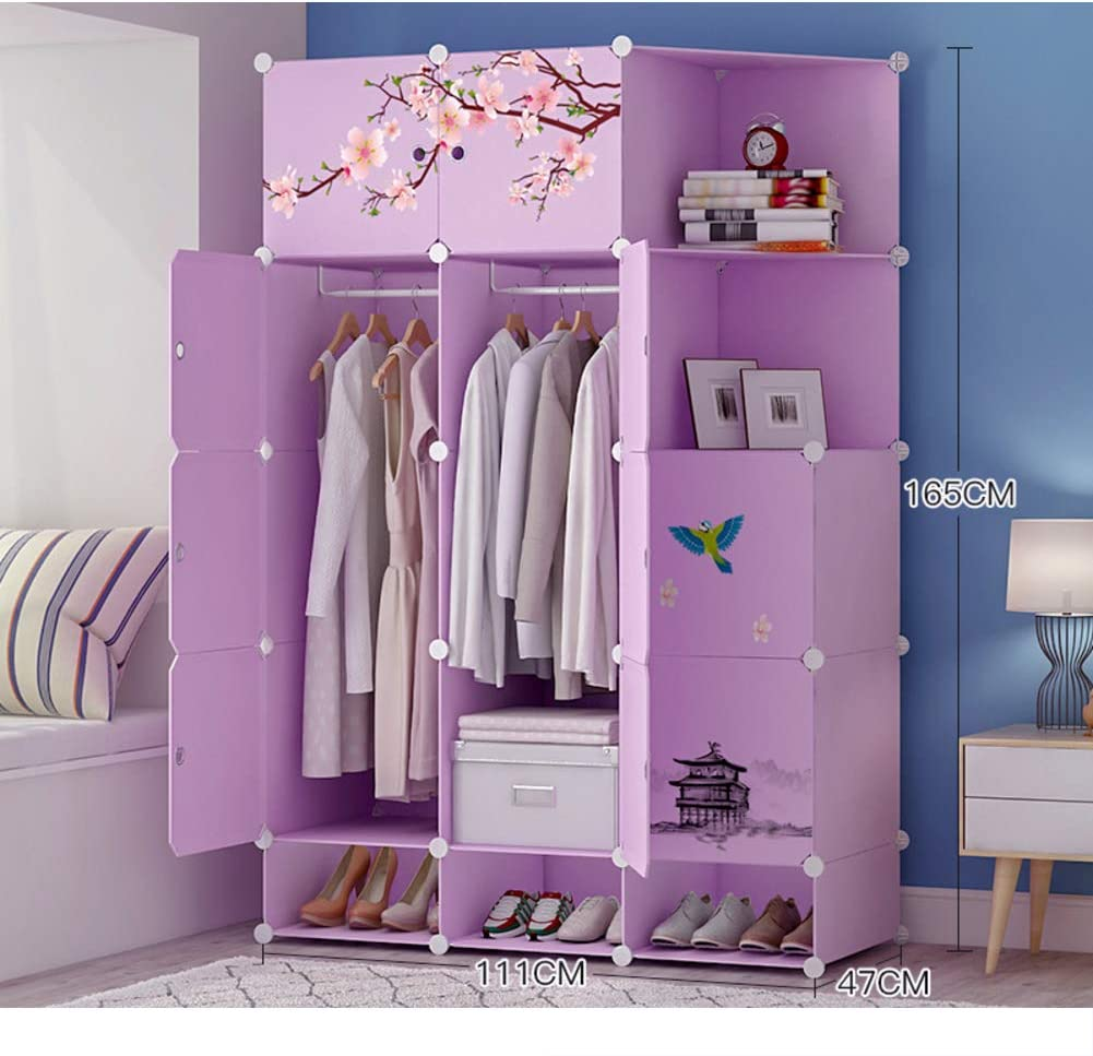 Xnxn Wardrobe Armoire Closets for Bedroom, Portable Resin Armoire with Pattern Sticker Modular Cubby Shelving Unit for Hanging Clothes Purple-k L111×w47×h165cm(44x19x65inch)