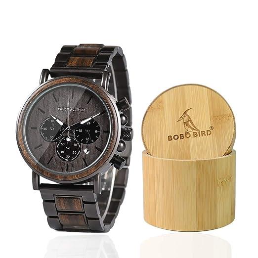 Relojes de Madera para Hombre, Estilo Casual, Madera de ébano y cronógrafo Combinado de Acero Inoxidable: Amazon.es: Relojes