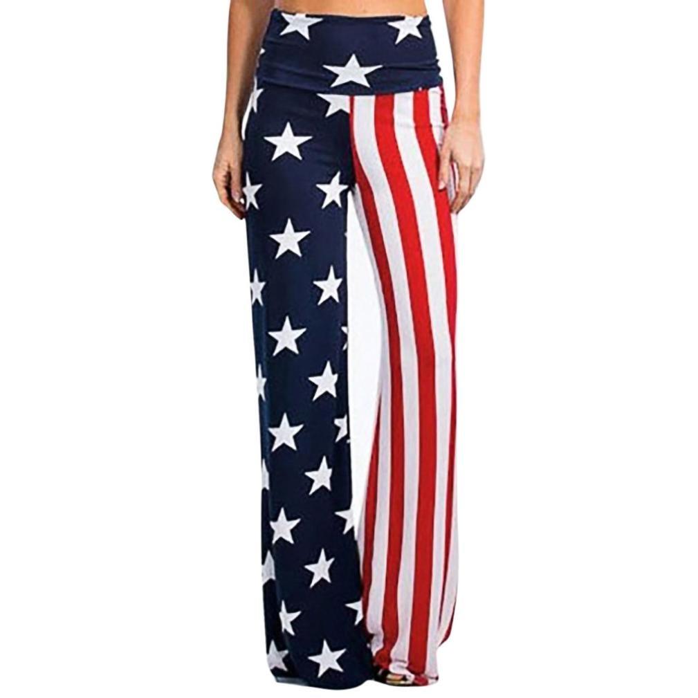636a5f62d65b01 Top7: Makaor Women American Flag High Waist Wide Leg Leggings Pants Loose  Trousers July 4th