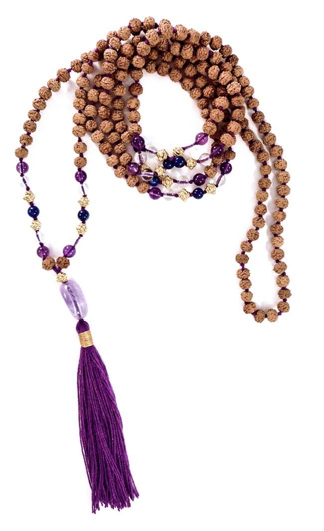 Kailesh Mala 216 Rudraksha Prayer Beads 4mm (Amethyst Lapis & Quartz 22k Gold Plated Sterling Silver)