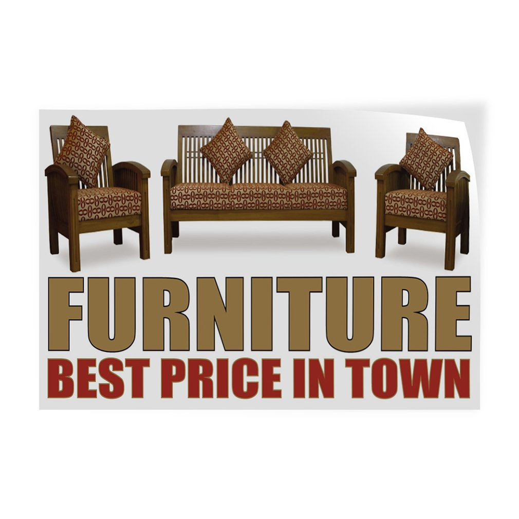 Decal Sticker Multiple Sizes Furniture Best Price in Town Retail Furniture Best Outdoor Store Sign White Set of 2 60inx40in