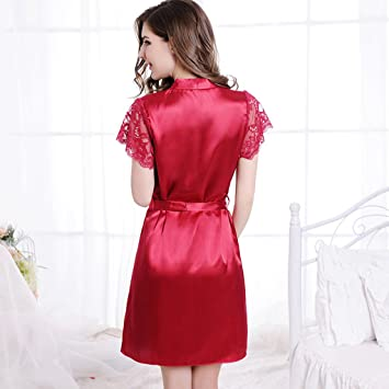 GJM Shop algodón con bolsillos albornoz ---- Fibra 100% Poliéster Sexy Pijama Hembra Verano Sección Delgada ...