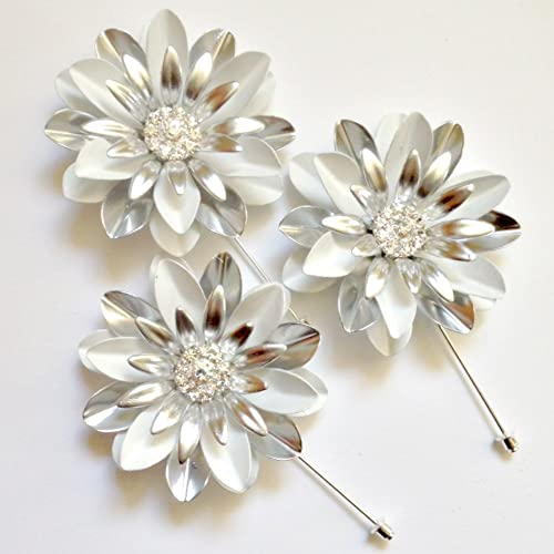 Tie Pins Jewelry Large White and Silvertone Painted Metal