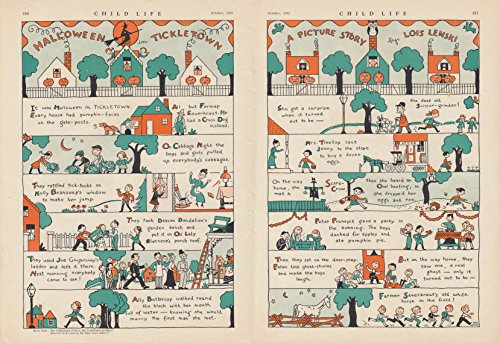 Halloween in Tickletown Picture Story by Lois Lenski 2-page story 1934
