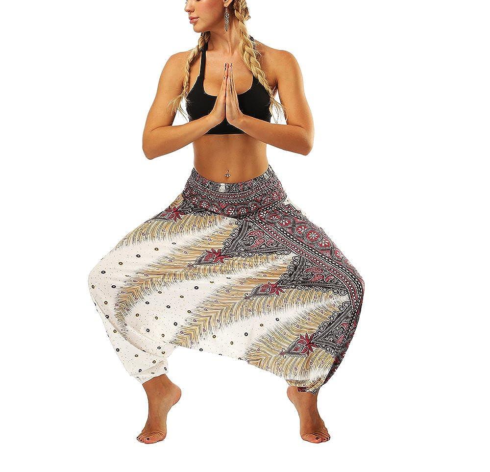 Pantalones Harem Casuales para Mujeres Pantalones Holgados Pantalones Cortos de Pierna Ancha de Verano Pantalones de Playa Pantalones de Playa Pantalones Sueltos Hippy Pantalones de Yoga Pantalones