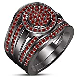 TVS-JEWELS Trio Wedding Ring Set In Black Rhodium Plated Sterling Silver Round Cut Red Garnet Gemstone (9.25)