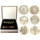 Moorlando Wax Seal Stamp Set, 6PCS Botanical Sealing Wax Stamp Brass Heads + 1PC Wooden Handle with a Gift Box Vintage…