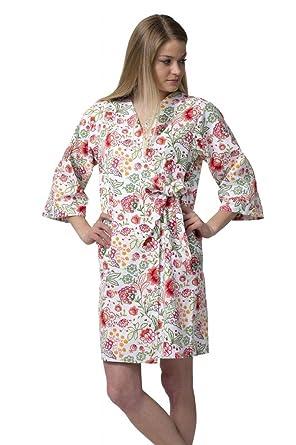 Dynasty Robes Women s Short Cotton SPA Bridesmaid Robe with Kimono  Collar-Poetic Bloom de51e7300