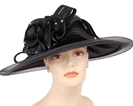 1da48243fb7 Ms Divine Women s Satin Year Round Church Hats Formal Dress Hats  HL60 ( Black) at Amazon Women s Clothing store